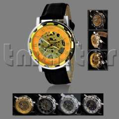 New Retro Style Men's Black Leather Gold Dial Skeleton Mechanical Sport Wrist Watch 3 Colors