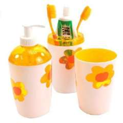 Floret three-piece bathroom - toothbrush cup Cups + + lotion bottle | Random Color