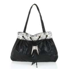 Black snakeskin pattern H buckle four rope bag
