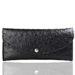 Fashion ostrich grain leather wallet simulation | Black