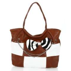 Brown round neck bow chain bag