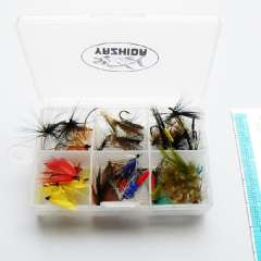 Free shipping 3 dozen plastic fly box vintage various type fly fishing lures