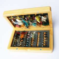 Free Shipping 7dozen dry and wet fly lures with fly box(bamboo) Trout lures fly fishing bait fake lure fishing tackle soft lure