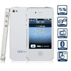 Q4 TV 3.2 inch Quad Band Dual Card | Analog TV Touch Screen Cell Phone | White