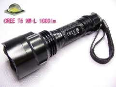 UniqueFire T6 1000 lumen CREE XM-L T6 LED Flashlight | Single file output 1X18650 | black