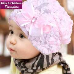 2013 New Year Fashion Children Lovely Hat with Flower Decoration Kids Lace Cap Warm Winter&Spring Purple+Pink 43013