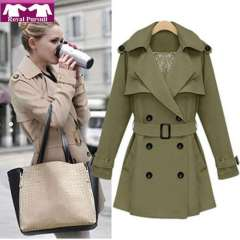 2013 New Arrival Fashion Women Casual Elegent Double Breasted Trench with Belt Army Green\ Apricot Color Atumn Coat 13013