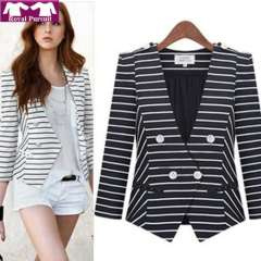 2013 New Arrival Fashion Women Casual Strip Pattern V-Neck Winter-Autumn Blazer Irregular Coat with Chiffon Lining 13010