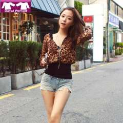 2013 New Arrival Fashion Women Casual Leopard Autumn-Winter Outwear Coat Long Sleeve V-Neck Cardigan Free Shipping 13005