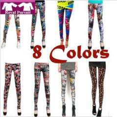 2013 New Year Fashion Women Print Pattern Slim Colorful Legging with High Elasticity 8 Colors Summer Leggings One Size 19001