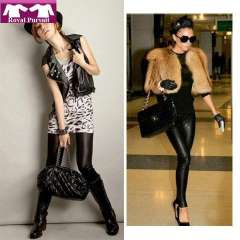 2013 New Arrive Fashion Women Black Warm Winter Thicken Legging Faux Leather+Flix Slim Leggings Free Shipping 19015