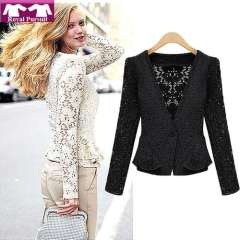 2013 New Arrival Fashion Women Sexy Lace Hollow Out Short Coat for Autumn-Winter Cardigan One Button Elegent Blouse 14009