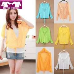 2013 New Arrival Fashion Women Casual Chiffon Summer Neon Color Top Candy Pattern Blouse with Long Sleeve Block Sunshine 14001