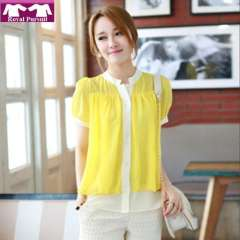 2013 New Arrival Fashion Women Casual Chiffon Blouse for Summer with Mandarin Collar Yellow\Red\Flower Print Top 81015