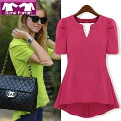 2013 New Arrival Fashion Women Casual Chiffon Blouse with Back Hollow Out V-Neck Puff Short Sleeve Top High Quality 81017