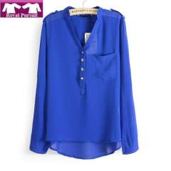 2013 New Arrival Fashion Women Casual Chiffon Blouse for Summer Korean Style with Shoulder Knot V-Neck Pullover Top 14006