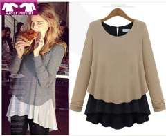 2013 New Arrival Fashion Women Casual Patchwork Chiffon+Georgette Blouse Pullover O-Neck Long Sleeve Khaki+Gray Shirt 12009