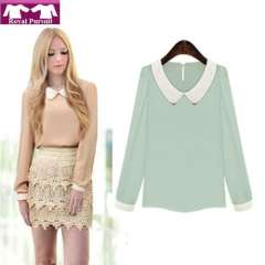 2013 New Arrival Fashion Women Casual Chiffon Autumn-Summer Turn-down Collar Blouse High Quality Elegent Free Shipping 12014