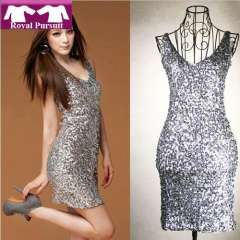 2013 New Year Fashion Women Sexy Shorts Apparel Dresses Lady Christmas Party Celebrity Dress with Sequined V-Neck 12025