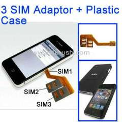 2 in 1 (Q-SIM 3 SIM Card Multi-SIM Card + Plastic Case) for iPhone 4