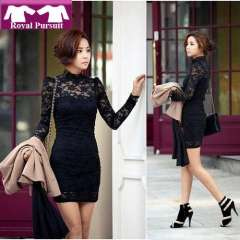 2013 New Arrival Fashion Women Sexy Cotton Full Sleeve Mini Lace Dress Casual Slim High Quality Dresses Free Shipping 12036