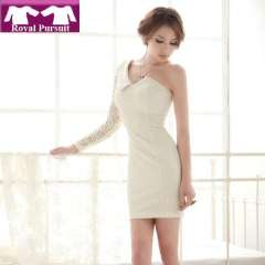 2013 New Year Fashion Women Lace Single Shoulder Sleeve Mini Dress Sexy Mini Open Back Dresses Turn-down Collar 12034