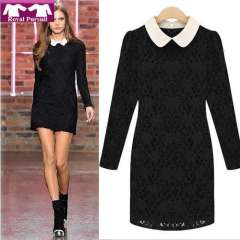 2013 New Arrival Women Casual Vintage Bodycon Sexy Lace Dress Autumn-Summer Elegent Mini Dresses S M L XL Free Shipping 12006