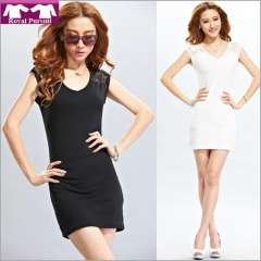 2013 New Arrival Fashion Women Casual Summer Lace Dress Slim Tops with O-Neck Sleeveless Black\White Free Shipping 81001