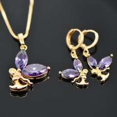 Trendy Brand zircon Crystal Necklace Earrings Jewelry Sets 18K Real Gold Plated fashion Jewelry Set Women Party Gift S20057