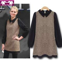 2013 New Arrival Fashion Women Casual Chiffon Dress Long Sleeve Turn-Down Collar Atumn-Winter Patchwork Dresses 12017
