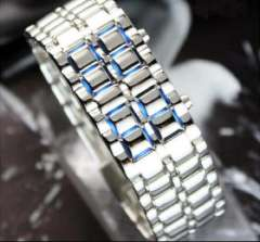 Lava LED Watch | Mens | silver with blue light
