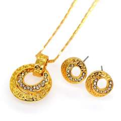 Luxury Wedding Jewelry Sets For Women 18k Gold Plated crystal Rhinestone Necklace Earrings Pendants Jewellery gift S20094
