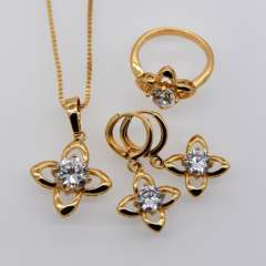 Trendy Jewelry Set Women Party Gift 18K Real Gold Plated Luxury AAA+zircon Crystal Necklace Earrings Ring Jewelry Sets S20054