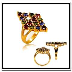 High quality Luxury Colorful Zirconia Ring 18K Real Gold Plated Fashion Jewelry Women men Gift Rings wholesale R70079
