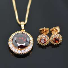 Luxury zircon Crystal Necklace Earrings Jewelry Sets 18K Real Gold Plated fashion Brand Jewelry Set Women Party Gift S20059