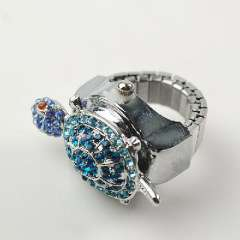 Silver blue diamond drill baby turtles | Ring Watch