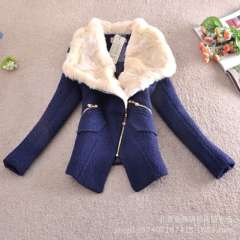 2013 autumn and winter high-end thick warm wool coat with fur collar woolen coat