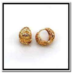 New Unique Design charm Womens Earrings Fashion 18K Real Gold Plated Hollow Hoop Earrings men Vintage Jewelry gifts E10100