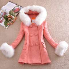 Wholesale 2013 new Korean fashion Slim woolen jacket and long sections thick woolen coat fur collar women