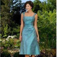 Free Shipping Simple Knee-length Blue Tafetta Casual Dress Homecoming Dress