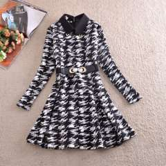 2014 Korean version of the fall and winter clothes women's black and white pattern one thousand Bird Slim thin long-sleeved dres