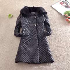 Wholesale high fashion argyle pattern embossed PU quilted coat \ jacket rabbit fur collar removable fidelity