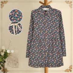 waypoints new women's spring garden style retro floral lapel long-sleeved dress waist tether