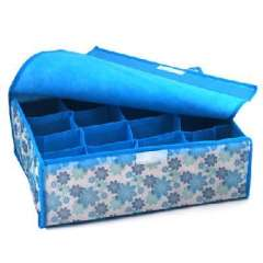 Soft blue flowers cover 16 grid storage box