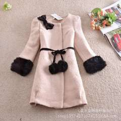 Wholesale 2013 winter new Korean version of the Slim and long sections fur sleeve wool coat thick woolen coat