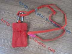 Sturdy lanyard with carabiner big red double- thick cotton knit cell phone package