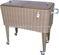 party patio rattan Beverage drink rolling cooler cart with wheel (DR1204)