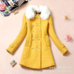 Wholesale 2013 new autumn and winter women's thick woolen coat with fur collar wool coat