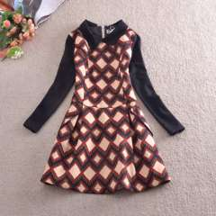 2014 fall and winter clothes new Korean temperament Slim put on a large waist princess dress lapel plaid