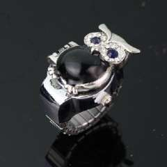 Black Eyed black diamond belly owl | Ring Watches